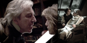 """The evil Judge Turpin (Alan Rickman, left) threatens the young sailor Anthony (Jamie Campbell Bower, right) in """"Sweeney Todd The Demon Barber of Fleet Street"""" DreamWorks Pictures and Warner Bros. Pictures Present A Parkes/MacDonald Production A Zanuck Company Production A Tim Burton film, """"Sweeney Todd The Demon Barber of Fleet Street"""" starring Johnny Depp, Helena Bonham Carter, Alan Rickman, Timothy Spall and Sacha Baron Cohen. The film is directed by Tim Burton from a screenplay by John Logan, music and lyrics by Stephen Sondheim, based on the Tony Award-winning musical """"Sweeney Todd: The Demon Barber Of Fleet Street"""" by Stephen Sondheim and Hugh Wheeler Originally Staged by Harold Prince from an adaptation of """"Sweeney Todd"""" by Christopher Bond. The film's producers are Richard D. Zanuck, Walter Parkes, Laurie MacDonald and John Logan. The executive producer is Patrick McCormick. This film has been rated R for graphic bloody violence."""